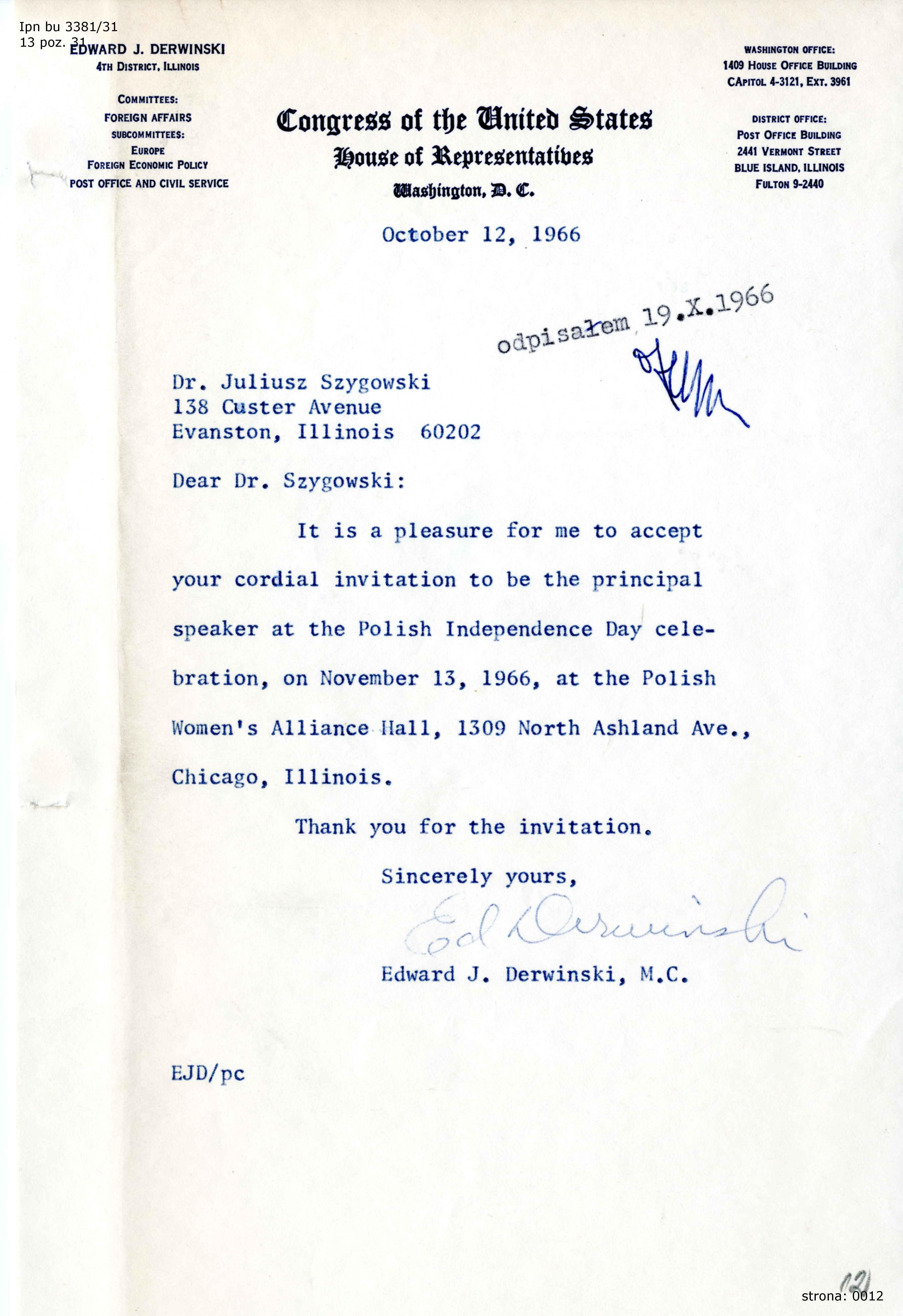 Dokumenty Dot Obchodów 11 Listopada W L 1966 1967 Przez Polonię